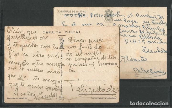Postales: Antiguas dos postales dibujadas coloreadas. Una de ellas aventuras de Mari- Pili. - Foto 4 - 162963894