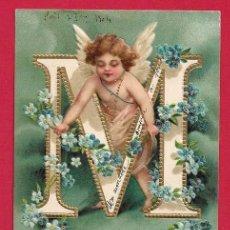 Postcards - AE830 ANGEL ANGELITO ALFABETO LETRA M CON FLORES SELLO 1904POSTAL EN RELIEVE - 163735246