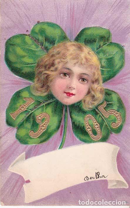 AD342 ANGELITO NINO EN UN TREBOL ANO 1905 POSTAL EN RELIEVE (Postales - Postales Temáticas - Dibujos originales y Grabados)
