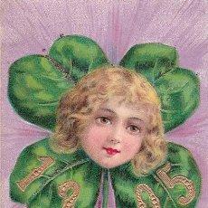 Postales: AD342 ANGELITO NINO EN UN TREBOL ANO 1905 POSTAL EN RELIEVE. Lote 165334638