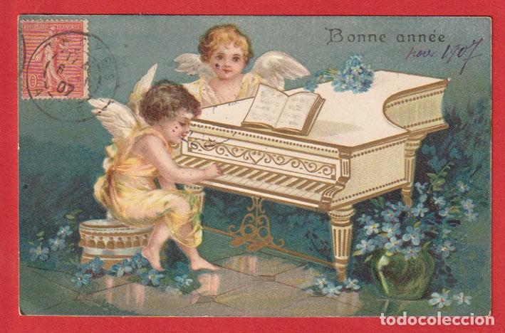 AE639 ANGELITOS TOCANDO PIANO FLORES POSTAL EN RELIEVE ANO 1907 (Postales - Postales Temáticas - Dibujos originales y Grabados)