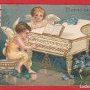 Postales: AE639 ANGELITOS TOCANDO PIANO FLORES POSTAL EN RELIEVE ANO 1907. Lote 165338610