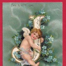 Postcards - AE863 ANGEL ANGELITO ABECEDARIO ALFABETO LETRA J CON FLORES SELLO 1904 POSTAL EN RELIEVE - 166283474