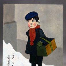 Postales: POSTAL NIÑO CON CESTA PINTADA ACUARELA SOCIEDAD ESPAÑOLA PAPELERÍA ESCRITA 1912 SIN DIVIDIR. Lote 169588976