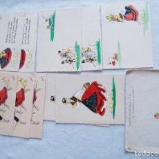 Postales: LOTE DE 11 POSTALES BAILE GALLEGO PINTADAS A MANO ETNOGRAFIA. Lote 171100679