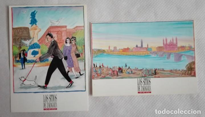 2 POSTALES LOS SITIOS DE ZARAGOZA AÑOS 90 (Postales - Postales Temáticas - Dibujos originales y Grabados)