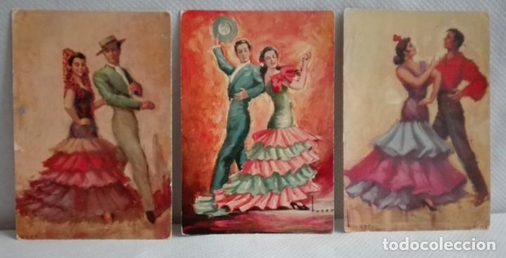 TRES POSTALES TRAJES ANDALUCES DE OBRAS DE JOSE MARIA TUSER AÑOS 60 (Postales - Postales Temáticas - Dibujos originales y Grabados)
