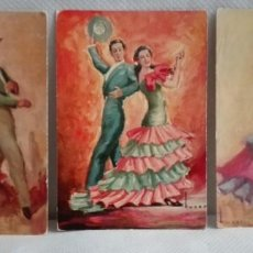 Postales: TRES POSTALES TRAJES ANDALUCES DE OBRAS DE JOSE MARIA TUSER AÑOS 60. Lote 171656222