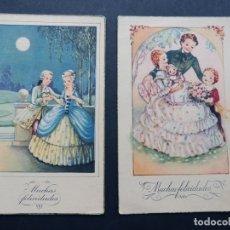 Postales: 2 POSTALES / MUCHAS FELICIDADES / ED. ARTIGAS - SIRENITA ( SERIES 1021 - 1038 ) CIRCULADAS EN 1952 /. Lote 172901627
