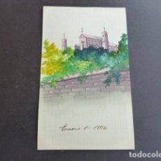 Postales: PAISAJE POSTAL PINTADA A MANO 1906 FIRMA V. PARDO. Lote 175107017