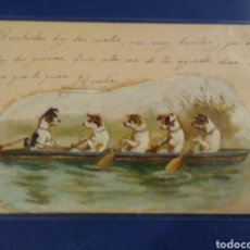Postales: PRECIOSA POSTAL PINTADA, DIBUJO ORIGINAL. PERROS REMANDO. CIRCULADA.. Lote 178216407