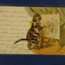 Postales: POSTAL DIBUJO ORIGINAL GATO PINTOR. COLECCIÓN ROSALÍA SERIE A NUM 1. Lote 178216567