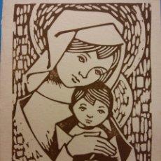 Postales: TARJETA NAVIDEÑA. VIRGEN MARIA Y EL NIÑO. DÍPTICO. NUEVA. Lote 178952433