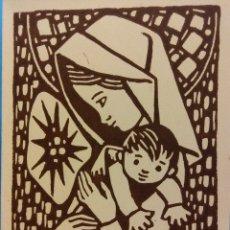 Postales: TARJETA NAVIDEÑA. VIRGEN MARIA Y EL NIÑO. DÍPTICO. NUEVA. Lote 178952451