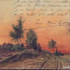 Postales: POSTAL PINTURA DE UN PAISAJE - CIRCULADA EN 1909. Lote 179254646