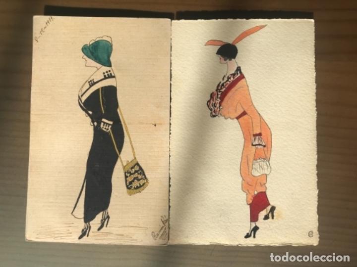 ANTIGUAS POSTALES ACUARELAS DIBUJO MODA RAMON PICO 1911 (Postales - Postales Temáticas - Dibujos originales y Grabados)
