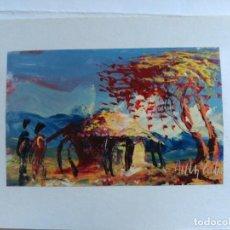Postales: POSTAL PINTADA A MANO ARTISTA CALLEJERO GABON AFRICA. Lote 183655678