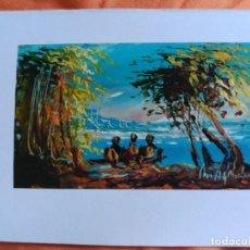 Postales: POSTAL PINTADA A MANO ARTISTA CALLEJERO GABON AFRICA. Lote 183656438