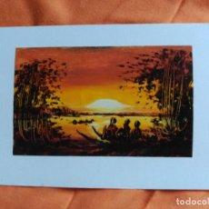 Postales: POSTAL PINTADA A MANO ARTISTA CALLEJERO GABON AFRICA. Lote 183656633