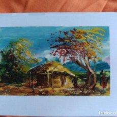 Postales: POSTAL PINTADA A MANO ARTISTA CALLEJERO GABON AFRICA. Lote 183656831