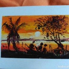 Postales: POSTAL PINTADA A MANO ARTISTA CALLEJERO GABON AFRICA. Lote 183657307