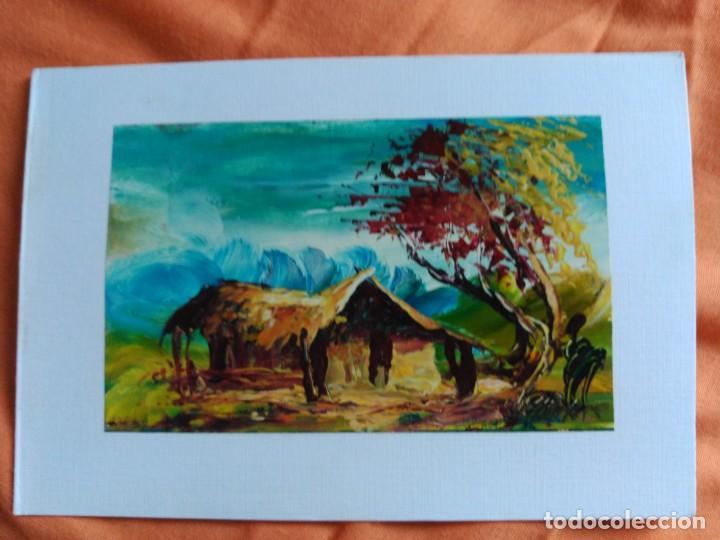 POSTAL PINTADA A MANO ARTISTA CALLEJERO GABON AFRICA (Postales - Postales Temáticas - Dibujos originales y Grabados)