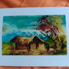 Postales: POSTAL PINTADA A MANO ARTISTA CALLEJERO GABON AFRICA. Lote 183658243