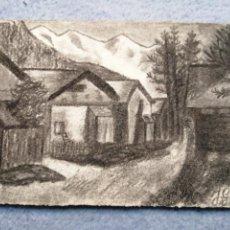 Postales: POSTAL PINTADA AL CARBONCILLO FIRMADA POR JULIE GARNIER. Lote 183740682