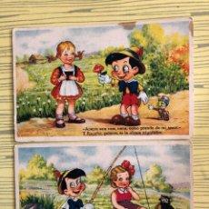 Postales: LOTE DE 2 POSTALES PINOCHO DE EDICIONES COLÓN, ESCRITAS AL REVERSO. Lote 184356593