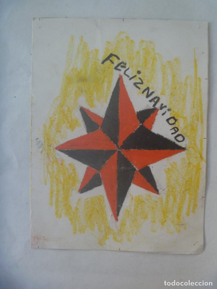 BONITA TARJETA FELICITACION NAVIDAD CON DIBUJO HECHO A MANO POR UN NIÑO. ESCRITA EN 1972 (Postales - Postales Temáticas - Dibujos originales y Grabados)