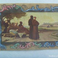 Postales: POSTAL MUY ANTIGUA CON LAMINA DE MONJES FRANCISCANOS Y DECORADA A MANO. Lote 191176715
