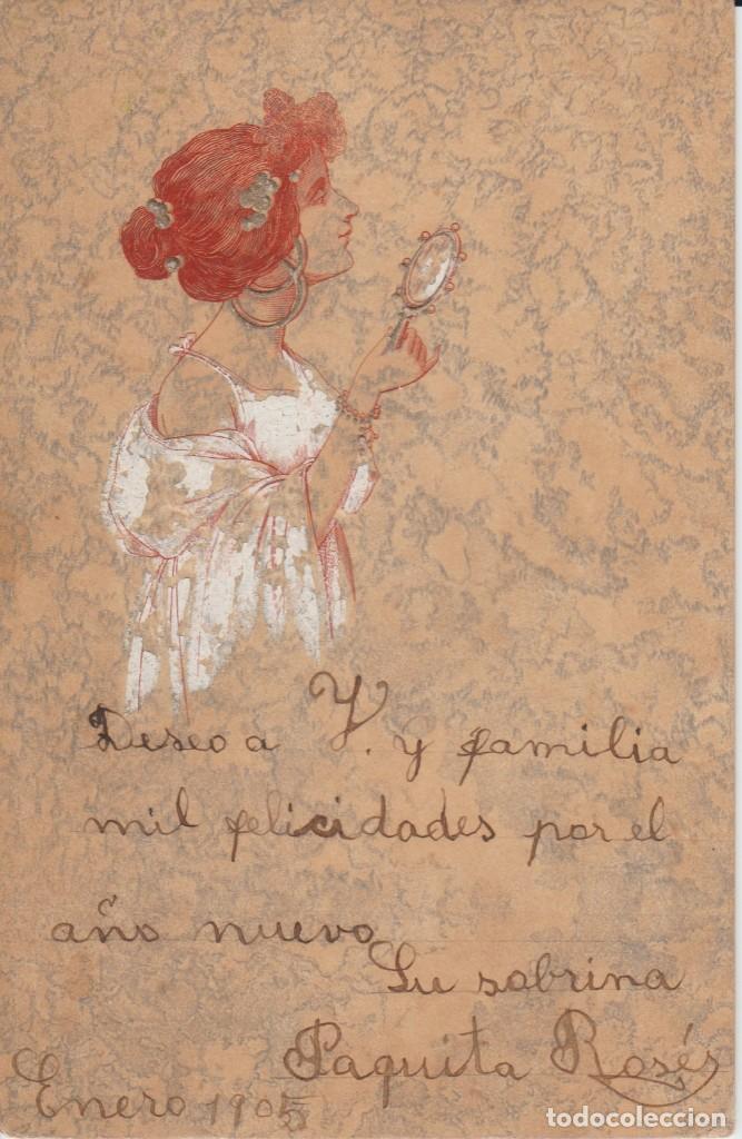 BONITA POSTAL EN RELIEVE. MUJER FRENTE AL ESPEJO (Postales - Postales Temáticas - Dibujos originales y Grabados)
