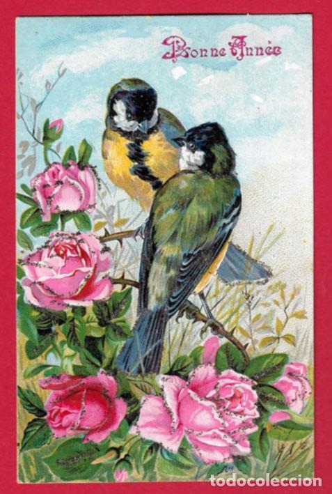 AE876 AVES PAJAROS HERRERILLOS Y ROSAS POSTAL EN RELIEVE CIRCULADA 1907 (Postales - Postales Temáticas - Dibujos originales y Grabados)