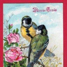 Postales: AE876 AVES PAJAROS HERRERILLOS Y ROSAS POSTAL EN RELIEVE CIRCULADA 1907. Lote 192837017