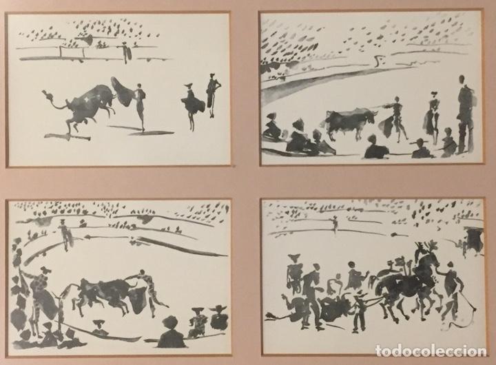 Postales: Cuadro con cuatro dibujos tauromaquia Picasso. - Foto 2 - 192838996