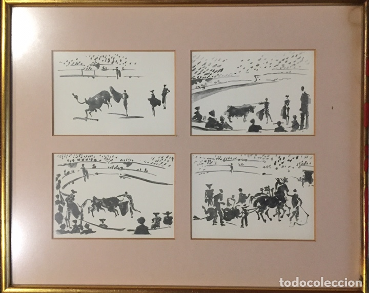 CUADRO CON CUATRO DIBUJOS TAUROMAQUIA PICASSO. (Postales - Postales Temáticas - Dibujos originales y Grabados)