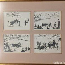 Postales: CUADRO CON CUATRO DIBUJOS TAUROMAQUIA PICASSO.. Lote 192838996