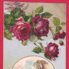 Postales: AC862 FLOR FLORES ROSAS ROJAS Y PAISAJE DE NIEVE. Lote 192892777