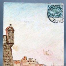 Postales: POSTAL DIBUJO ACUARELA MANO MALTA VALLETTA ISOLA POINT FORT SANT ANGELO M ACIUS CIRCULADA SELLO 1911. Lote 194776793