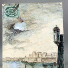 Postales: POSTAL DIBUJO ACUARELA MANO MALTA VALLETTA ISOLA POINT FORT SANT ANGELO M ACIUS CIRCULADA SELLO 1911. Lote 194776940