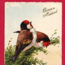 Postales: AB194 AVES PAJAROS JILGUEROS SOBRE RAMA DE PINO POSTAL FIRMADA. Lote 195034501