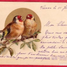 Postales: AA790 AVES PAJAROSPAREJA DE JILGUEROS POSTAL EN RELIEVEFECHA 1919. Lote 195128788