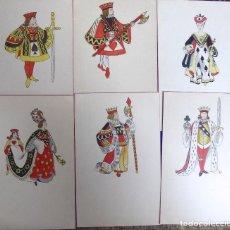 Postales: P-10076. LOTE DE 6 POSTALES ANTIGUAS CON FIGURAS DE DIVERSOS PALOS DE NAIPES.SIN CIRCULAR. Lote 195223318