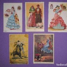 Postales: LOTE 5 POSTALES ANTIGUAS FOLKLORE TOROS TRAJES TIPICOS DIFERENTES FIRMAS TUSER . Lote 195443236