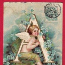 Postales: AE954 ANGEL ANGELITO ABECEDARIO ALFABETO LETRA A CON FLORES SELLO 1905 POSTAL EN RELIEVE. Lote 195511983