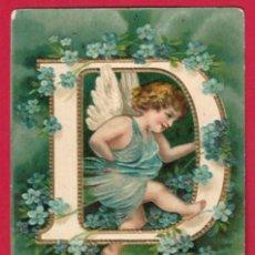 Postales: AE956 ANGEL ANGELITO ABECEDARIO ALFABETO LETRA D CON FLORES POSTAL EN RELIEVE GOFRADA. Lote 195526527