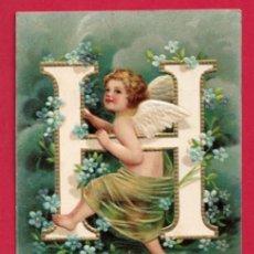 Postales: AE960 ANGEL ANGELITO ABECEDARIO ALFABETO LETRA H CON FLORES POSTAL EN RELIEVE GOFRADA FECHA1905. Lote 195529805