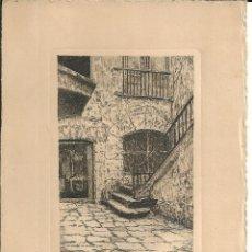 Postales: GRABADO *ESTAMPES DE BARCELONA* - PATIO, CASA SEÑORIAL DE BARCELONA. Lote 195748187