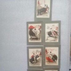 Postales: LOTE DE POSTALES O SIMILAR DE TOROS COLOREADAS Y FIRMADAS. Lote 196171187