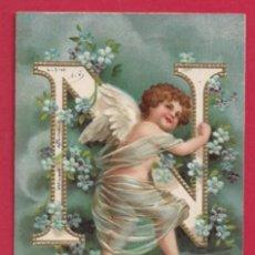 Postales: AE964 ANGEL ANGELITO ABECEDARIO ALFABETO LETRA N CON FLORES POSTAL EN RELIEVE GOFRADA FECHA 1903. Lote 196226321